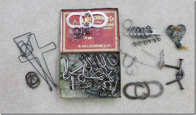 The collection of wire puzzles that first intrigued Dick Hess in a cigarette box (Photo courtesy Dick Hess)