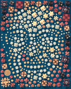 Mosaic portrait of Allan composed of his tiny puzzles made by computer graphics pioneer and  mosaic portraitist Ken Knowlton. (Copyright Ken Knowlton)
