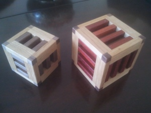 Variations on a theme: Nine Board Box and Twelve Board Box (both made from oak, walnut & padouk)